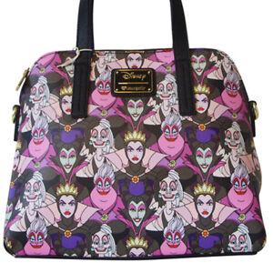 Details About Loungefly Disney Villains Print Purse Bag Maleficent Ursula Cruella Evil Queen