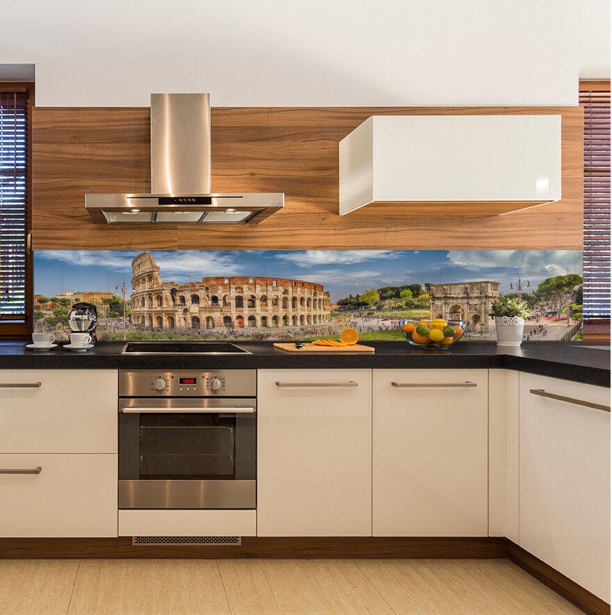 Cuisine Mur arrière anti-projections Cuisine Verre Trempé ville lumière du jour Rome Colisée