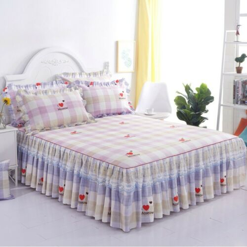 Home Flower Floral Bed Skirt Pillowcase Dust Ruffle Bedspread King Size Bedding