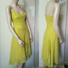 BCBG Max Azria Size 8 Silk Slip Dress Chartreuse Beaded 20s Gold Yellow Gatsby