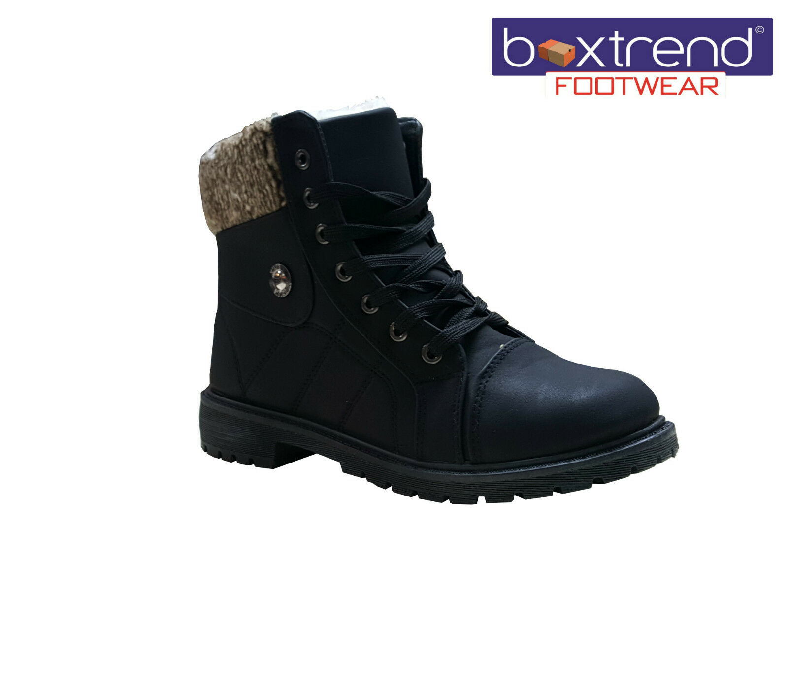 NEW LADIES WOMENS FLEECE LACE UP WARM FUR LINED WINTER BOOTS HIGH TOP BLACK SIZE