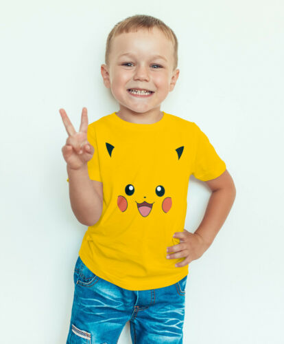 Pokemon Pikachu Face Boys Kids Quality T-shirt Short Sleeve Top