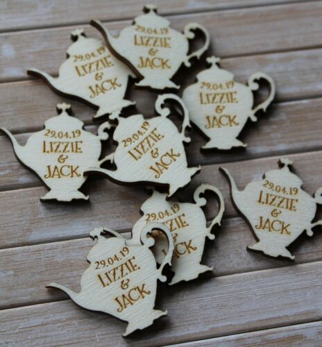 Alice Theme WOODEN TEAPOT PERSONALISED Table Confetti Scatter Favours Vintage