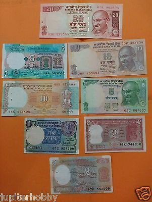 8 DIFFERENT Notes - India Bank Notes - UNC - #au01- FREE SHIPPING