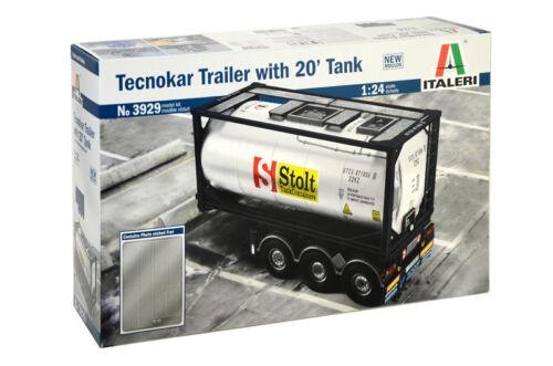 Italeri 3929-1//24 Tecnokar Trailer with 20tf Tank Neu