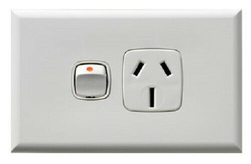 HPM EXCEL SINGLE POWERPOINT 250V 3-Pin Large Earth, Horizontal WHITE- 15A Or 20A