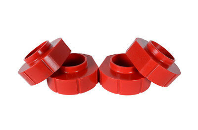 """Jeep TJ ZJ Complete Set of 4 RED Polyurethane 1"""" Coil Spring Lift Spacers"""