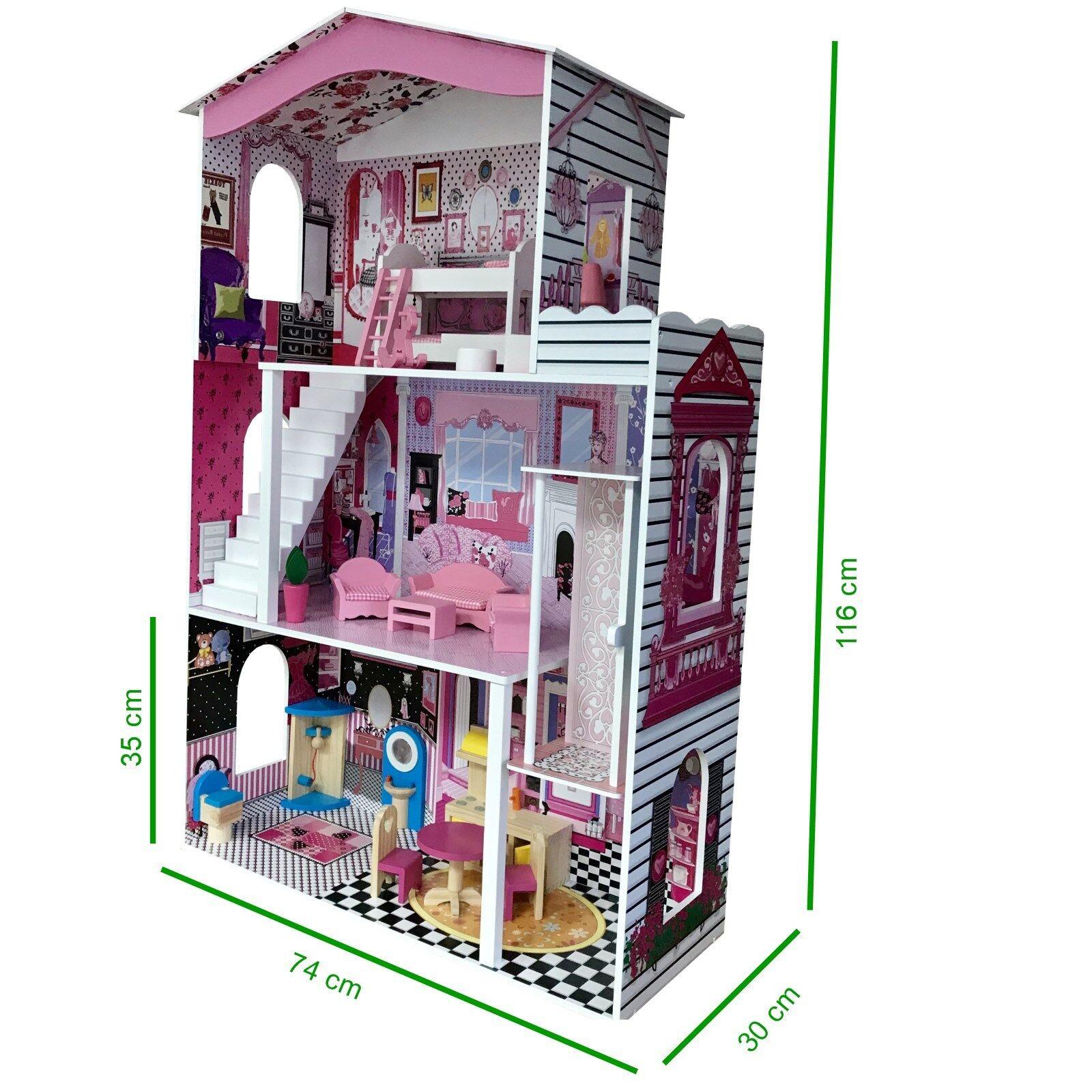 Großes Großes Großes Holz Puppenhaus Barbiehaus Traumhaus Puppenstube Set mit Möbeln Villa 7da675