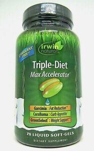 Irwin Naturals TRIPLE-DIET Max Accelerator 78 SoftGels stimulant free 09/2020