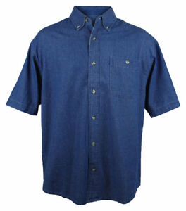 886ae3158d8 Tri-Mountain Men s Button Down Collar Chest Pocket Stonewashed Denim ...