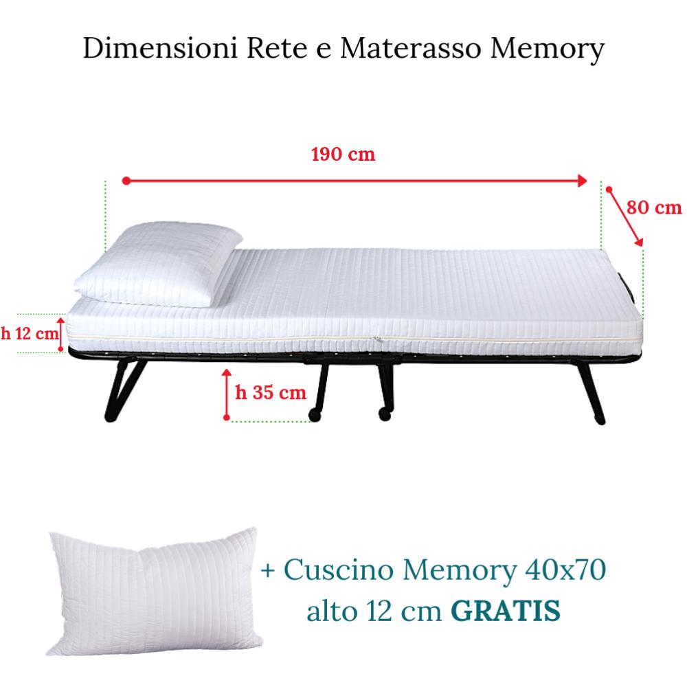 BRANDINA LETTO PIEGHEVOLE MATERASSO MEMORY ORTOPEDICO 80x190 E CUSCINO CUSCINO CUSCINO OMAGGIO bf741e