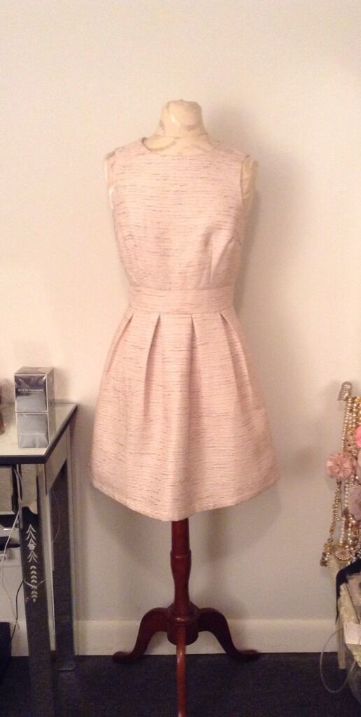 New Forever 21 Tweed Metallic Pale gold Tulip Dress Ivory Size Small