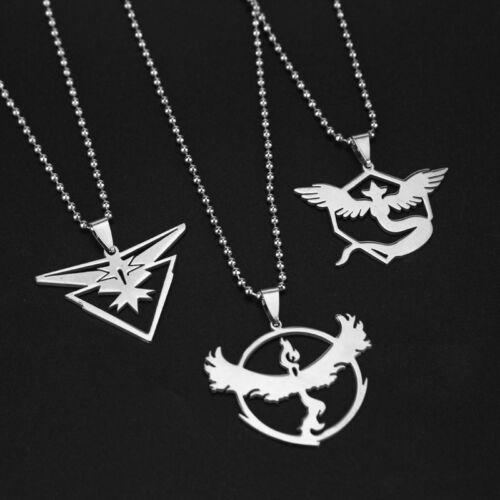 Fashion Silver Plated Long Chain Team Valor Mystic Instinct Pendant Necklace