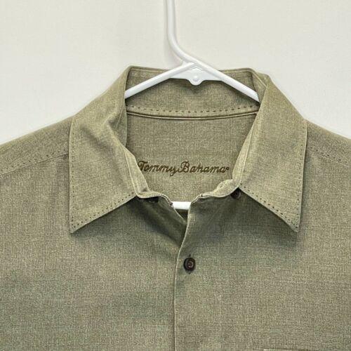 Tommy Bahama Mens Silk Shirt Green Medium - image 1