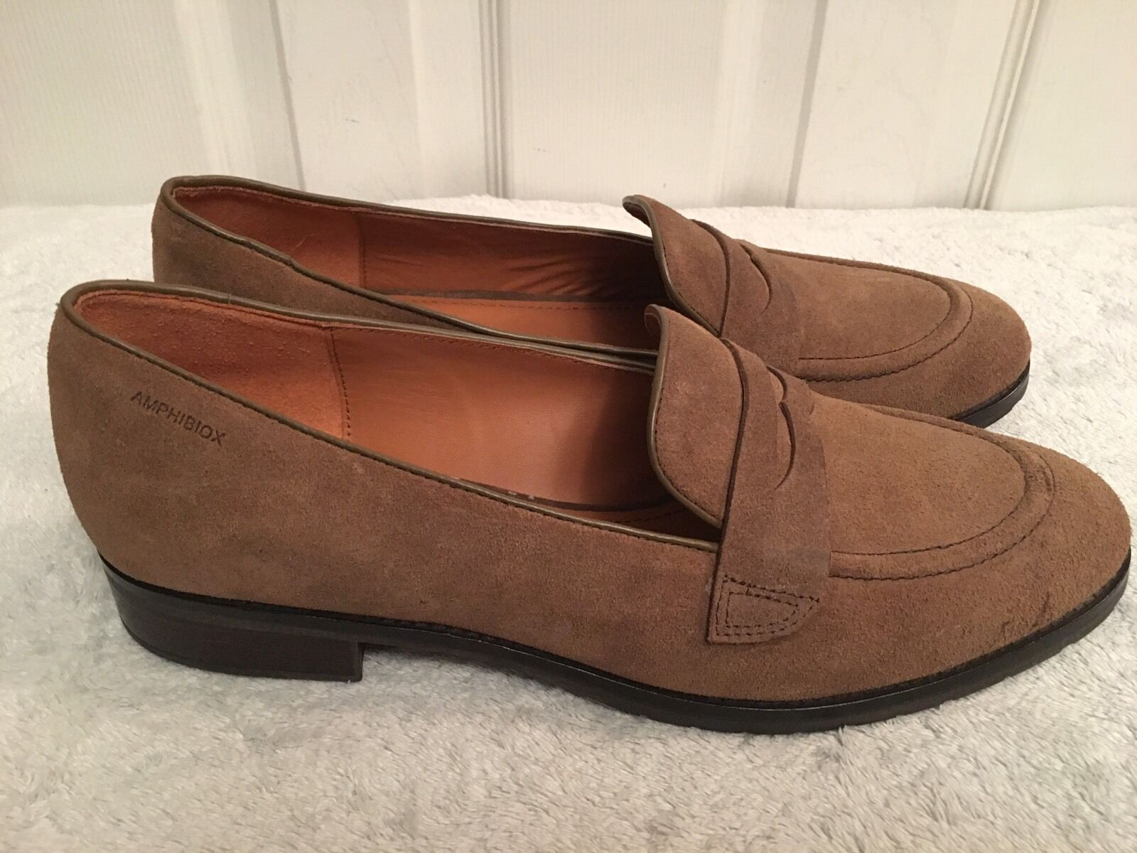 GEOX RESPIRA AMPHIBIOX WALLIS BROWN SUEDE LOAFER SHOES  41 RRP