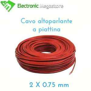 100mt-MATASSA-CAVO-PIATTINA-ROSSO-NERA-2X0-75mm-ALIMENTAZIONE-ELETTRONICA-LED