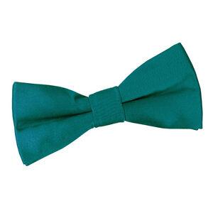 DQT-Satin-Plain-solide-sarcelle-communion-Page-Garcons-Pre-Tied-Bow-Tie