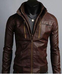 11f1c2abf Image is loading Men-slimfit-Leather-Jacket-Korean-Style-Casual-Slim-