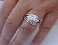 925 Sterling Silver Ladies Wedding Ring & Band Set W/ 2.50 Cts Diamond Sz 5-9