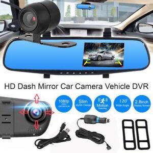 Car-DVR-1080p-Dash-Camera-Dual-Lens-4-3-034-Rearview-Cam-Front-Rear-Recorder-Video