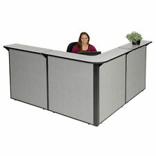 80w X 80d X 44h L Shaped Reception Station Gray Countergray Panel