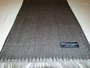 100% Cashmere Scarf Black White Scotland Wool Check Herringbone Plaid WRAP K1