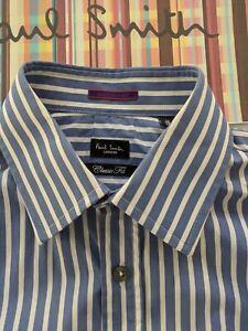 Paul-Smith-Camisa-de-hombre-15-034-punos-doble-Floral-Contraste-Cuello