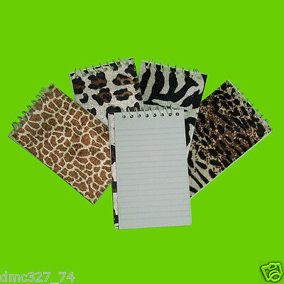 12 Birthday ZOO SAFARI Party Favors ANIMAL PRINT Spiral Bound MEMO NOTEPADS