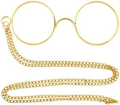 Gold Pinnacle Victorian Hercule Poirot Glasses with Chain Fancy Dress NEW P7356