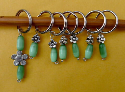 Stitch marker pewter flower and green shell knitting 6+1 units