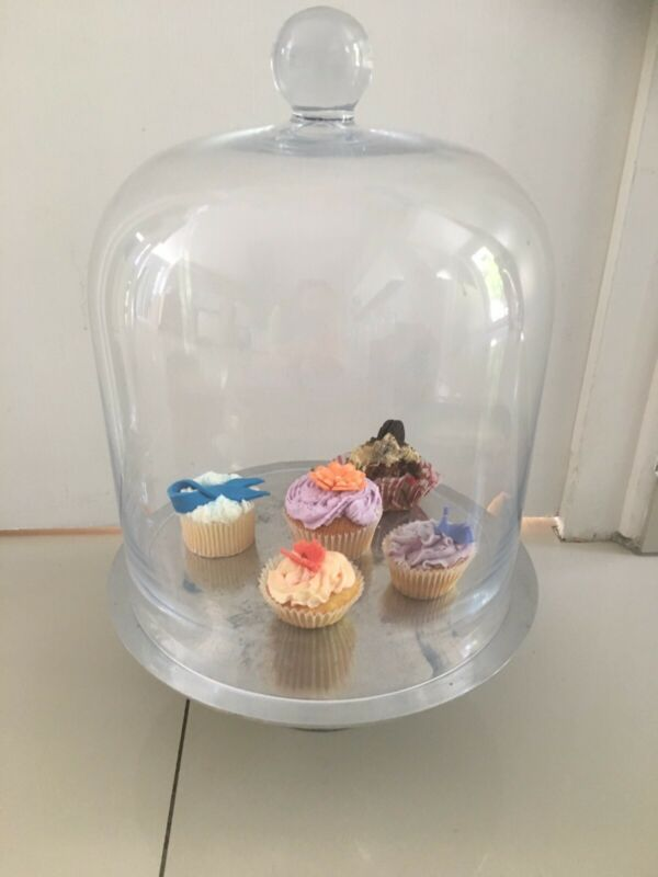 Large Glass confectionary/ cake dome and pewter pedestal cake stand