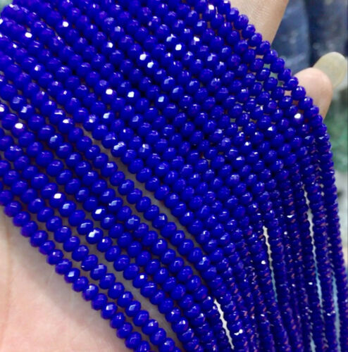 """New 2x4mm Faceted Blue Sapphire Abacus Loose Beads Gemstone 15/"""" AAA"""