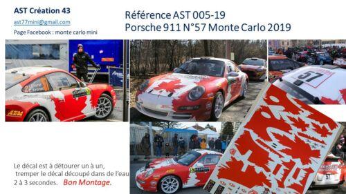 DECAL CALCA 1 43 PORSCHE 911 N° 57 CRERAR RALLY WRC MONTE CARLO 2019 MONTECARLO