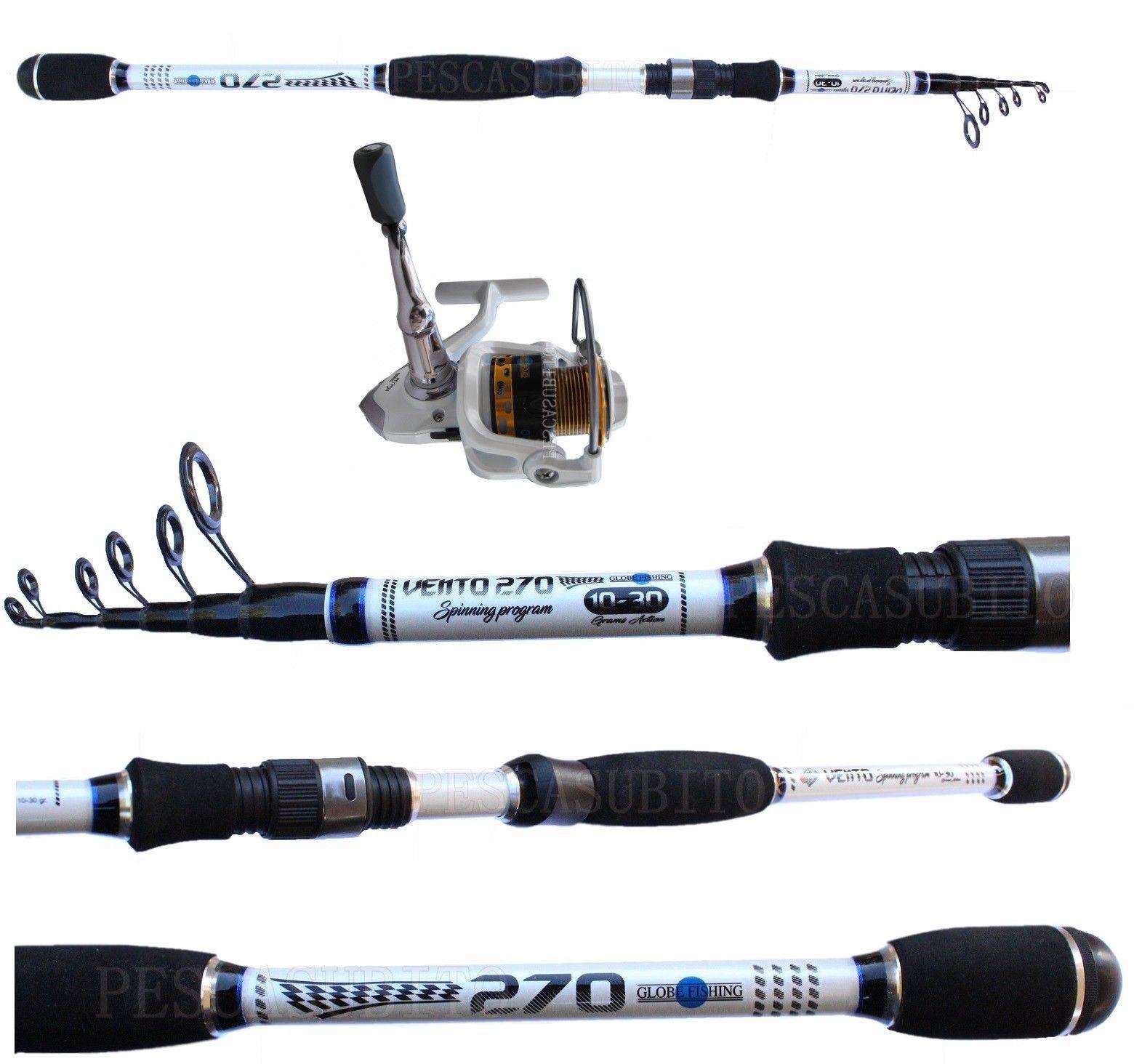 Combo Canna Pesca Spinning Vento 2.70m 2.70m 2.70m 10 30g + Mulinello Kaya Trota Bass Travel a1e1a1