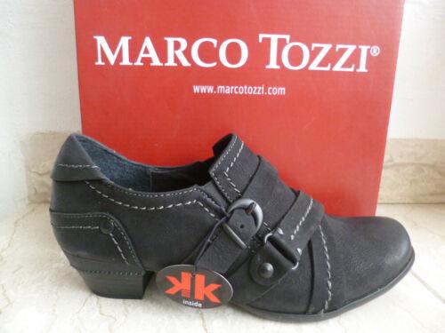 Marco Tozzi Escarpins Trotteur pantoufles véritable cuir noir NEUF!