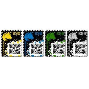 4 x CRYPTO STAMP | yellow blue green black / gelb blau grün schwarz ★★★★★ TOP