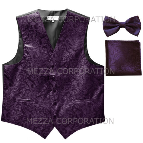 New Vesuvio Napoli Men/'s paisley Tuxedo Vest/_Bowtie /& Hankie dark purple formal