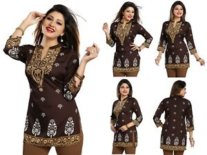 Top-Women-Indian-Short-Kurti-Tunic-Kurta-Printed-Dress-3-4-Sleeves-MI570-BROWN