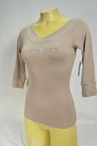BEBE t shirt logo streach crystals ribbed V NECK 159283 nude MSH XS S M L