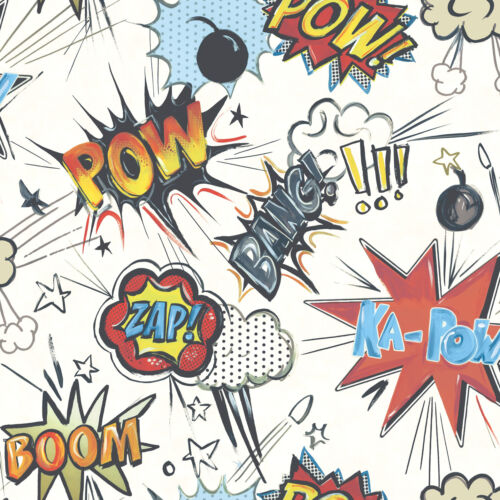 WHITE POW BANG WALL EFFECT FEATURE KIDS TEENAGE WALLPAPER 272604 FROM  RASCH