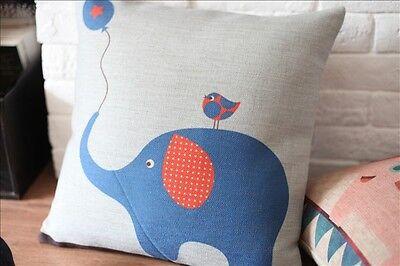Vintage Cotton Linen Cushion Cover Home Decor Cute Elephant Bird Owls