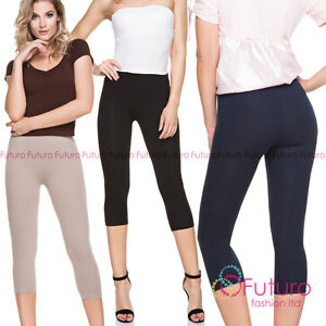 Premium-Qualitaet-Leggings-Abgeschnitten-3-4-Laenge-Not-Sehen-durch-Baumwollhosen
