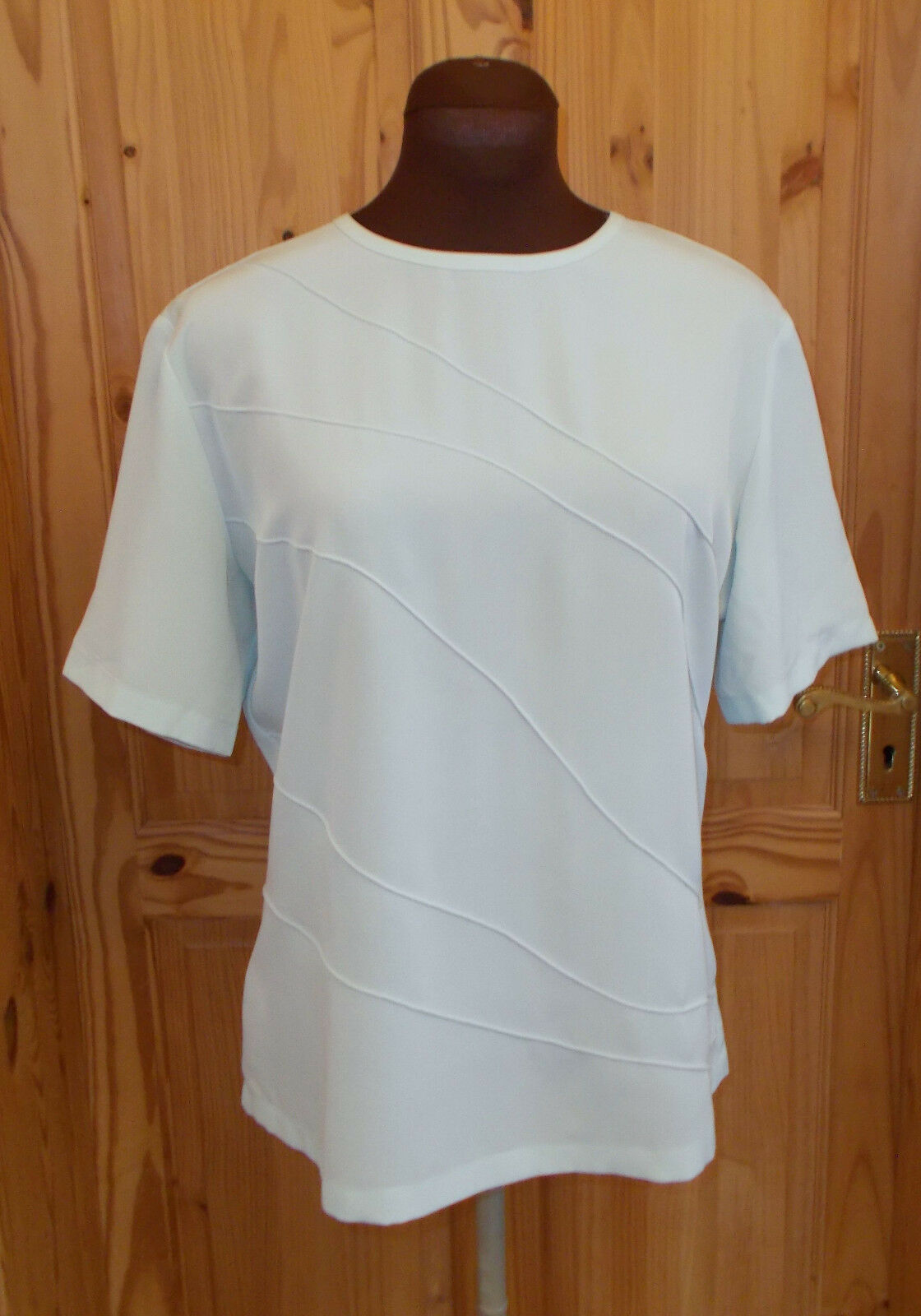 COUNTRY CASUALS duckegg pale aqua Blau-Grün short sleeve tunic blouse top 12 40
