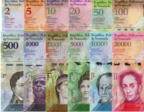 VENEZUELA set of 12 pcs all UNC 2 to 20000 Bolivares 2007-2016
