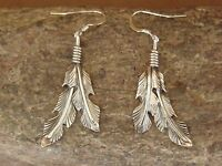 Native American Indian Jewelry Stamped Sterling Silver Feather Earrings
