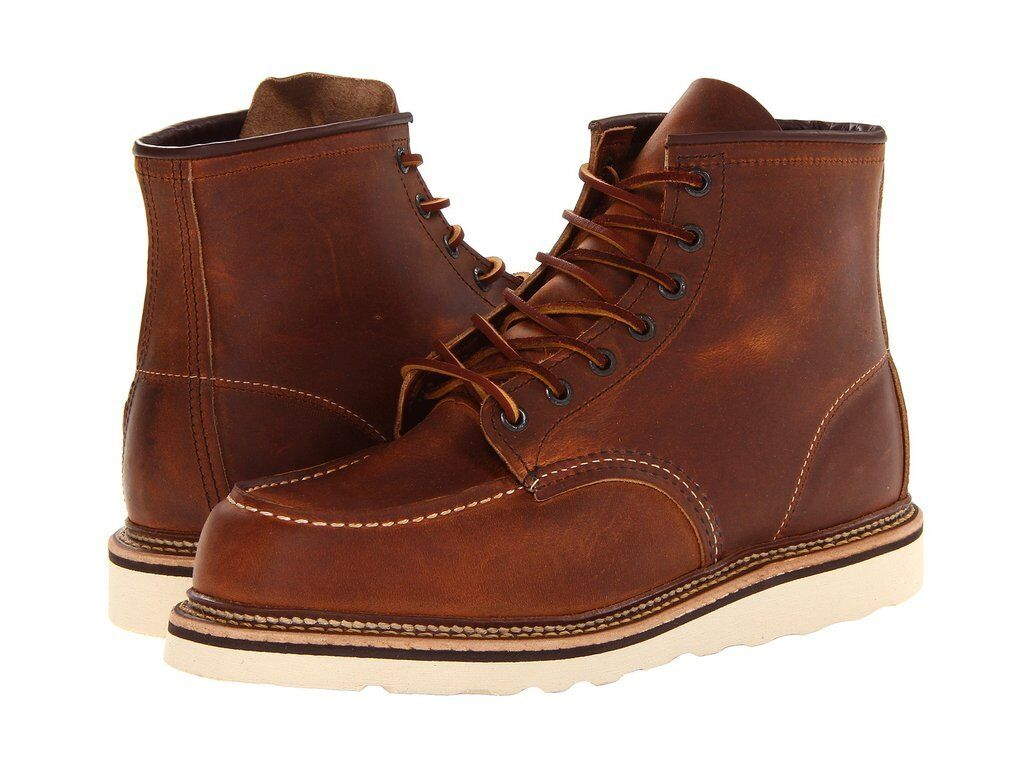 RED WING COPPER ROUGH & TOUGH LEATHER CLASSIC MOC LACE UP MEN's BOOTS 1907 BROWN
