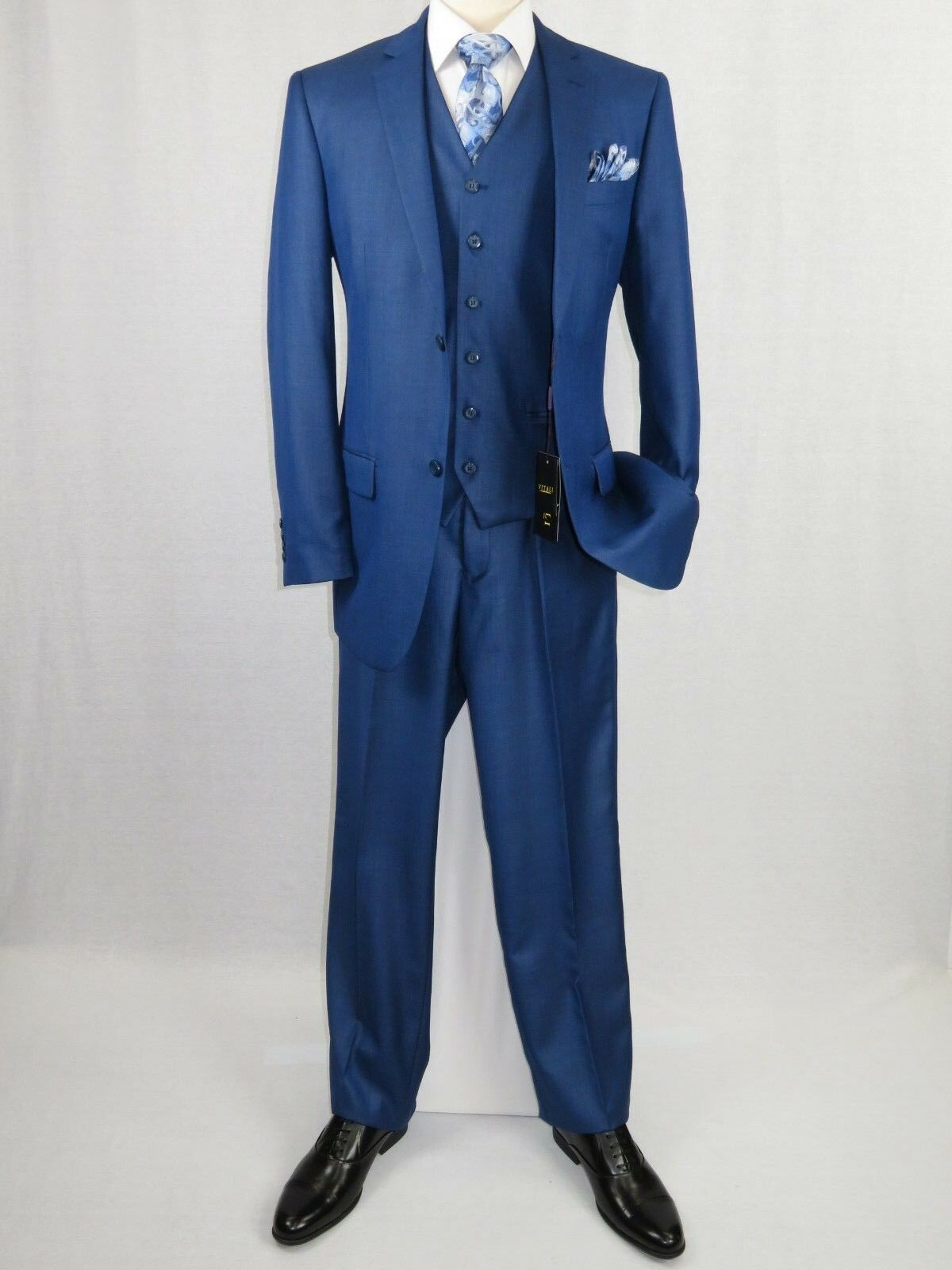 Herren Vitali Three Piece Suit Vested Shiny Sharkskin M3090 Royal Blau Pleated