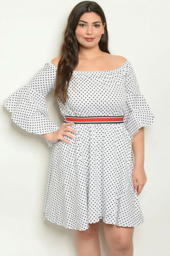 Womens Plus Size White and Black Polka Dot Dress 3X Cold Shoulder Bell Sleeve