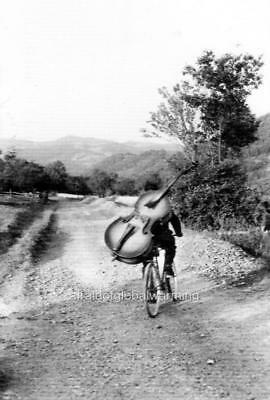 Old Photo Belgium Man on Bicycle Carrying Bass Musical Instrument