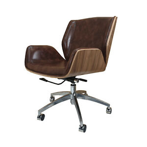 Groovy Details About Real Leather Office Chair Walnut Wood Vintage Brown Leather Next Day Delivery Interior Design Ideas Inesswwsoteloinfo